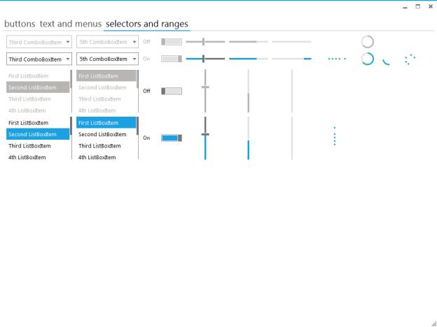 Elysium, Metro Style UI, Metro Style control application,Metro style selector and ranges