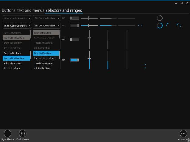 Elysium, Metro Style UI, Metro Style control application, Elysium dark theme, Metro style dark theme