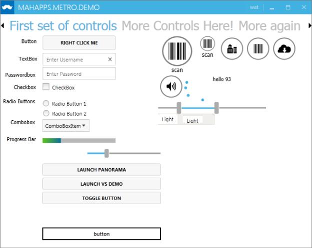MahApps Sample, Window 8 control application, WPF, metro style, metro style UI