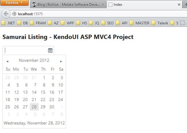 Create KendoUI ASP MVC Project | Samurai Listing Example
