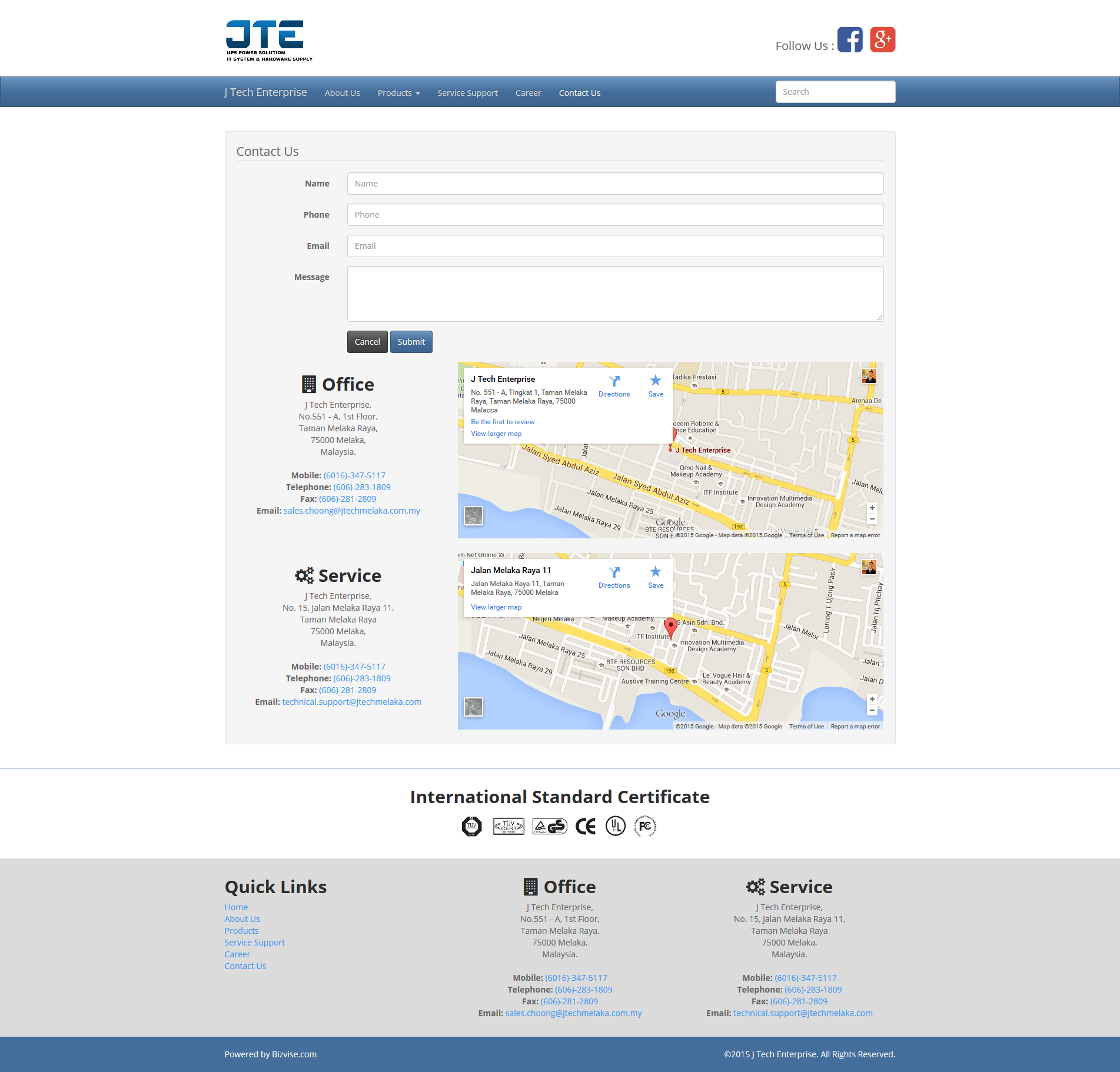 02 jtech website design and programming contact us page